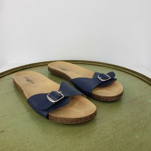 Lucky Brand Dolliee Navy Leathers Slide Sandals